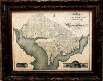 Washington Dc Map Etsy - Parchment paper map of us