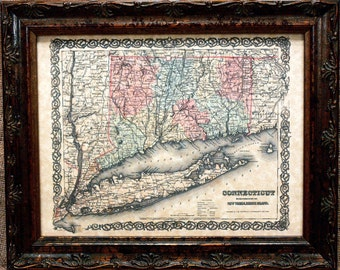 Connecticut State Map Print of an 1855 Map on Parchment Paper