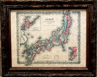 Japan Map Print of an 1855 Map on Parchment Paper