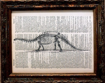 Brontosaurus Skeleton Art Print from 1896 on Dictionary Book Page