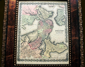 City of Boston Map Print of an 1855 Map on Parchment Paper 11x14