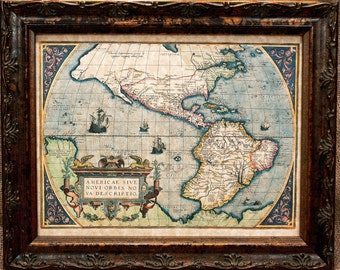 Americas Map Print of a 1579 Map on Parchment Paper