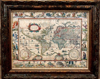 World Map Print of a 1606 Map on Parchment Paper