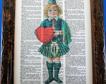 Scottish Boy with Heart Art Print on Dictionary Book Page