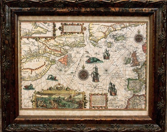 Chart of the North Atlantic Map Print of a 1592 Map on Parchment Paper