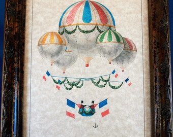 French Balloon Art Print from 1875 on Parchment Paper