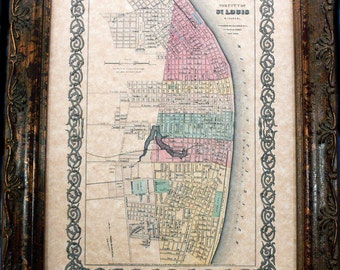 City of St. Louis Map Print of an 1856 Map on Parchment Paper