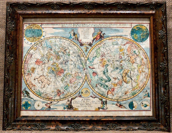 Celestial Spheres Map Print of a 1705 Map on Parchment Paper