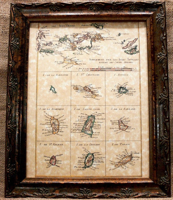 Virgin Islands-Antilles-West Indies Map Print of a 1780 Map on Parchment Paper