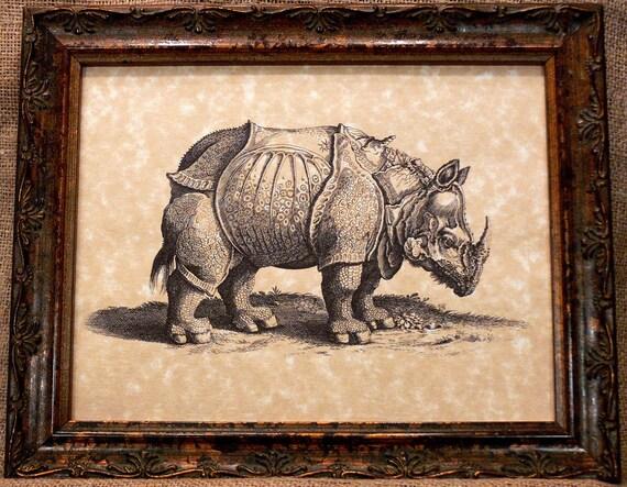 Rhino Art Print on Parchment Paper