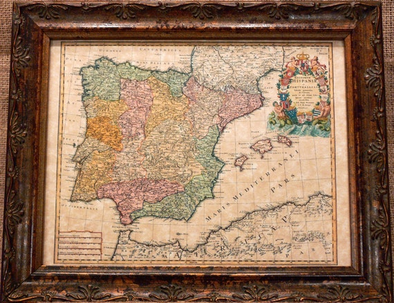 Spain and Portugal Map Print of a 1728 Map on Parchment Paper