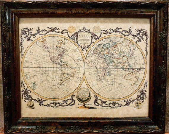 Double Hemisphere World Map Print of a 1782 Map on Parchment Paper