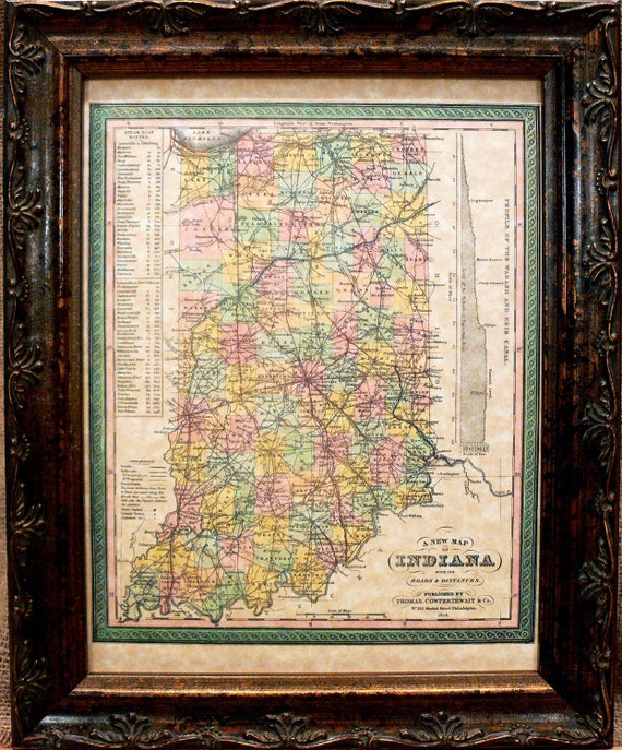 Indiana State Map Print of an 1850 Map on Parchment Paper