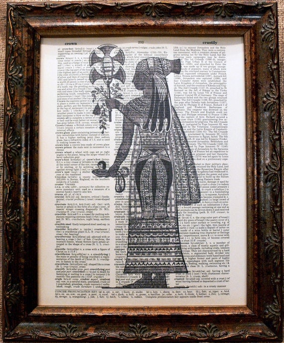 Ancient Egyptian Woman Art Print on Dictionary Book Page