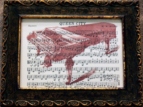 Red Piano Print on Old Marching Band Music Sheets