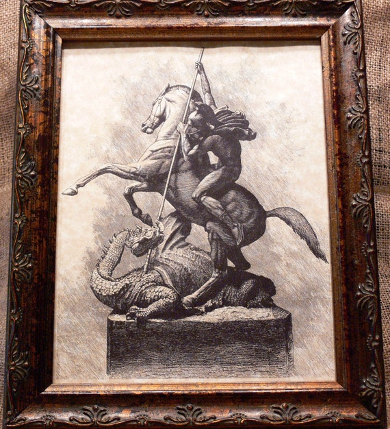 Saint George and the Dragon Art Print on Parchment Paper