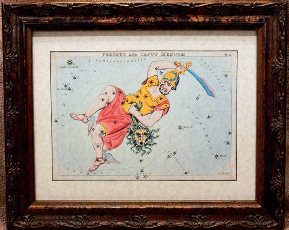 Perseus and Medusa Vintage Celestial Card Art Print on Parchment Paper