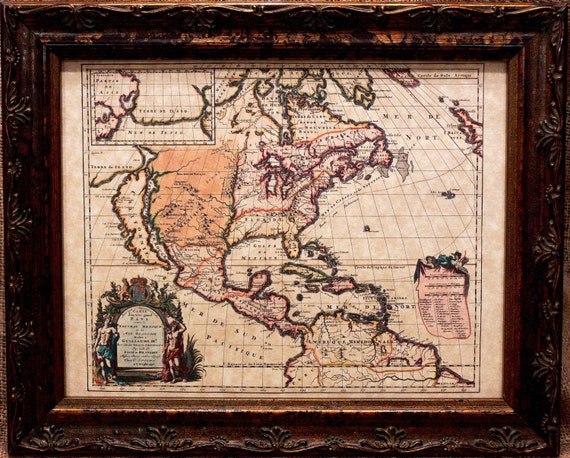 North American Map Print of a 1698 Map on Parchment Paper