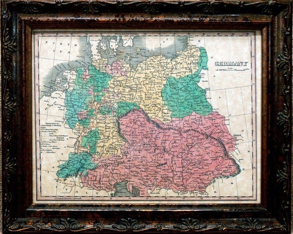 Germany Map Print of an 1827 Map on Parchment Paper