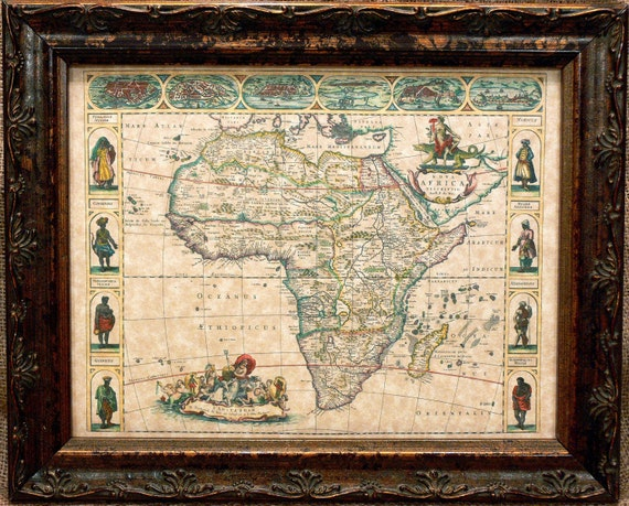 Africa Map Print of a 1660 Map on Parchment Paper