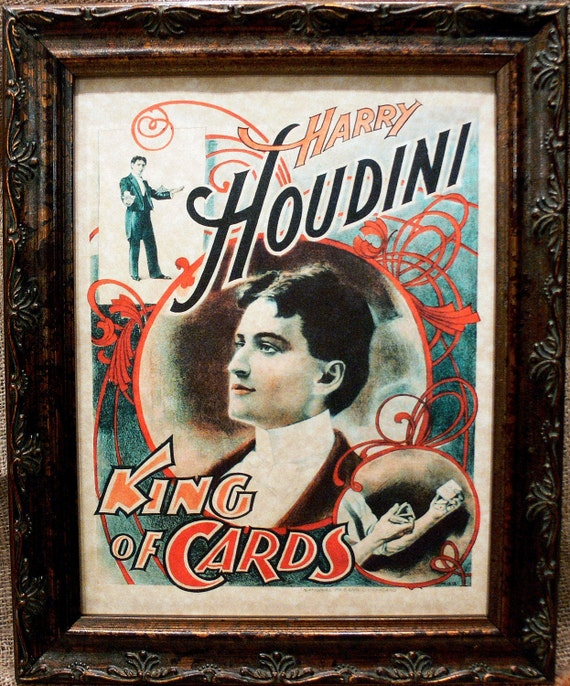 houdini king of cards poster art from 1895 art print on