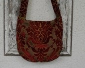Bohemian Gypsy Bag Purse Burgundy Gold Chenille Hobo Slouchy Damask Messenger Victorian Edwardian