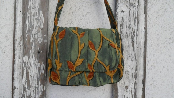 Insulated Lunch Bag Sack Box Pail Bohemian Gypsy Moroccan Vines Green Burnt Orange Purse Tote Carryall
