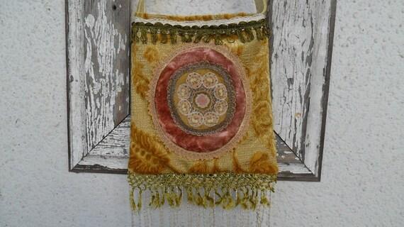 Victorian Bohemian Bag Purse Vintage Edwardian Antique Trim Fringe Doiley Chenille Crossbody