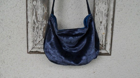 Bohemian Gypsy Bag Purse Blue Velvet Hobo Slouchy Crossbody Hippie