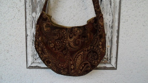 Bohemian Gypsy Bag Purse Burgundy Merlot Paisley Chenille Hobo Slouchy Crossbody
