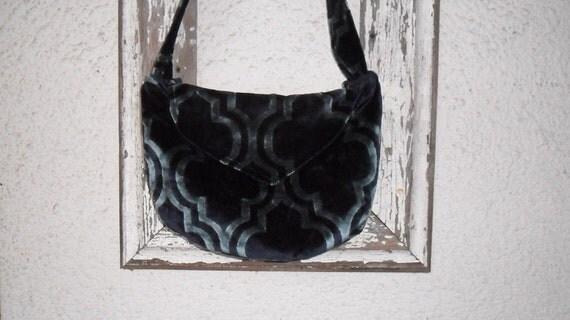 Gothic Bohemian Bag Purse Navy Blue Velvet Renaissance Edwardian Slouchy Hobo