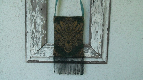 Bohemian Gypsy Bag Purse Hunter Green and Gold with Fringe
