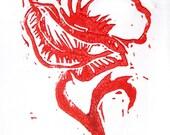 Original Linocut: Red Poppy