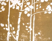 Set of Handmade Linocut Note Cards: Birches