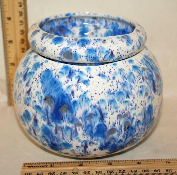 Handmade Peacock Eyes Round Ceramic Standard African Violet Pot