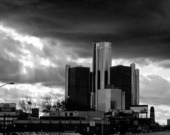 Detroit Photography - Stormy GM Building - Black and White - Fine Art Print