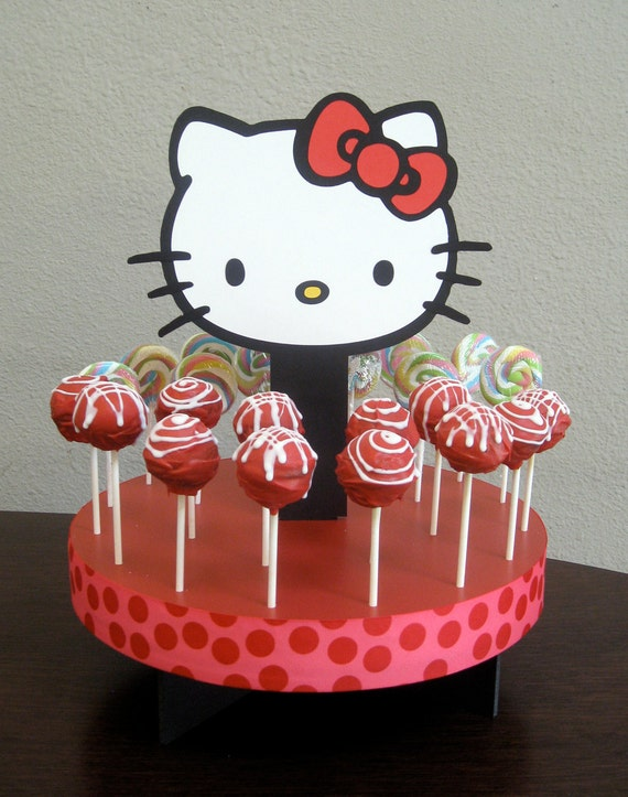 Hello Kitty Squishy Cake And Stand : Items similar to Hello Kitty Inspired Cake Pop or Lollipop stand on Etsy