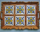 vintage wooden Mexican tiled serving tray