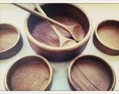 vintage Mid-Century Modern Thai teak wood salad bowl set
