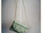 vintage mint green floral brocade clutch purse with chain strap