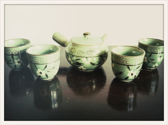 vintage celadon and brown ceramic floral tea set for four by Sorel