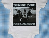 CHECK YOUR HEAD - Beastie Boys Baby One Piece Tees - OnESieS - Tot Tees - Rompers by MyCowDazy - Cool Baby Gift Idea