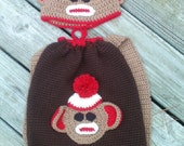 Sock Monkey Backpack and beanie combo