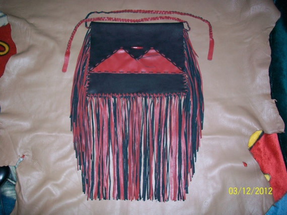 HALF OFF SALE - Beyond Gorgeous Large Red and Black Leather Purse With Beautiful Fringe- Native American