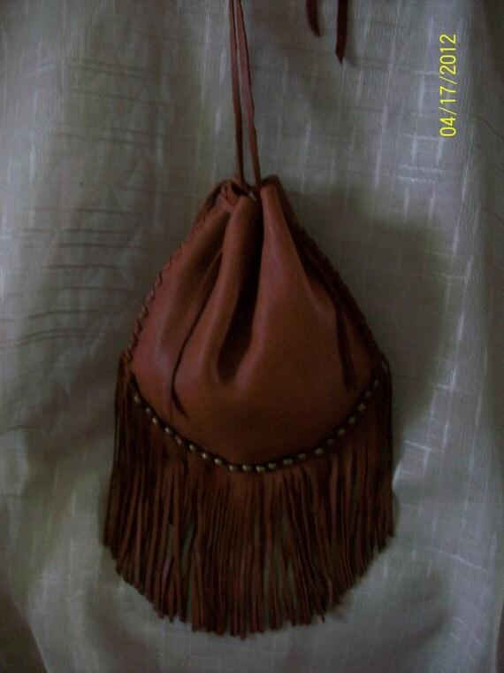 Beautiful OOAK Handmade Leather Hobo Style Sack Bag Purse with Real Brass Beads - Native American