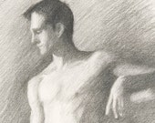 Male Nude in Charcoal