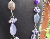 Purple Lavender Chunky Funky Necklace Free Shipping