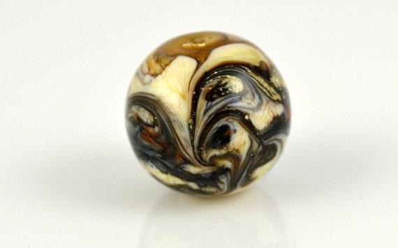 Lampwork Focal Bead - Round Silver Glass - 15mm - Handmade