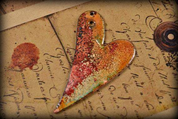 Torch Enameled Copper Heart Pendant