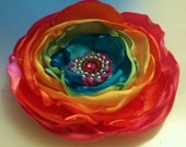 rainbow flower clip, headband, flower photo prop, one of a kind, great for prom, tie dye flower clip